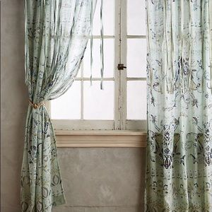"Anthropologie Mint Florilla Curtain 96"" x 50"""